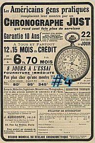 Publicité pour les montres Just