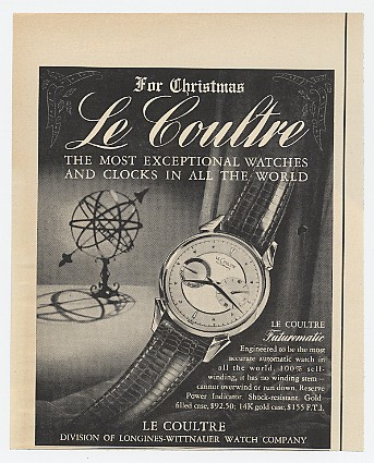 Publicité pour les montres LeCoultre