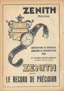Publicité pour les montres Zenith